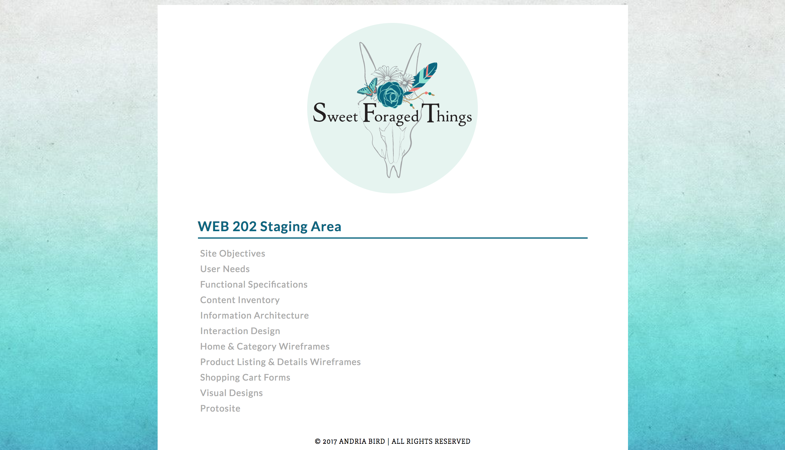 Sweet Foraged Things - Website Staging Area